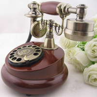 Rotary dial telephone wood phone fashion antique telephone battery