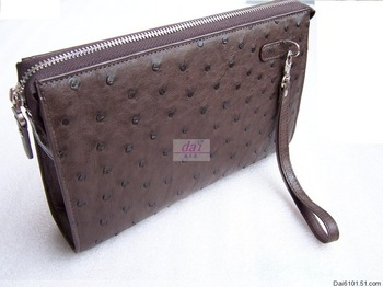 Quality ostrich skin clutch male clutch bag day clutch genuine leather commercial purse bags