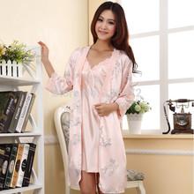 Freeshipping Spring/Summer Sexy Women's Spaghetti Strap Nightgown Sleepwear Female Silk Robe Twinset Lounge Set(China (Mainland))