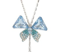 Free Shipping 2013 new NEOGLORY female Jewelry   full rhinestone butterfly  crystal  pendant Necklace xgb7395
