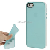 Free Shipping TPU Protective Case for iPhone 5 (Baby Blue + White)