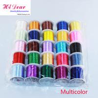 Wholesale Dia 0.5mm*10m/11yds 25Trolls/Lot Mix Colour Jewelry Beading Elastic Cords/String Rope For Bracelet/ESMC