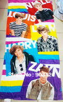 Free Shipping!20pcs/lot 2014 Fashion One Direction Character Bath Towel 100% Cotton Beach Towel for Kids (150cm*75cm ) G2900