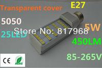 Transparent cover LED Bulb 220v 12W 5050 SMD 25 LED e27 Corn Light  Cool White/Warm White 85V-265V Side lighting certification