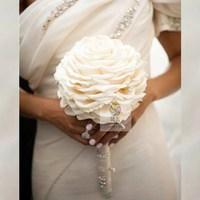 Handmade artificial flower wedding flower bride holding flowers rose