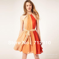 Factory Price!European Famous Brand Off-the-shoulder Fashion  Patchwork Women's Dress 8293