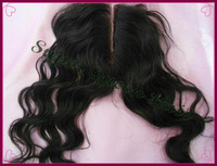 Free Shipping Brazilian Virgin Hair Color # 1B Body Wave 4X4 Bleached Knots Middle Part hair piece Lace Top Closure
