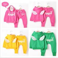 HB243 Free ship children set(2PC),Angel wings full sleeve hoodie+pants carton/autumn winter Wholesale Retail Honey Baby