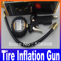 High Quality Digital Tire Inflation Gun Auto Air Inflator Gun Car motorcycle Bicycle Tire Pressure Gauge Free Shipping