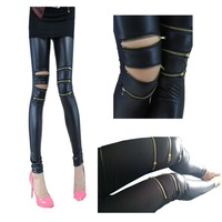 2014 spring and autumn Sexy Women Imitation Leather Stretch Black Jegging 3 zippers Legging  Pants Skinny