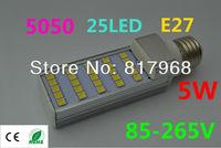 LED Bulb 220v 5W 5050 SMD 25 LED E27 Corn Light Lamp lights for home Cool White/Warm White 85V-265V Side lighting certification