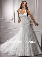 2013 New Arrive/Hot Sale Halter Noble/Elegant Sweetheart  with Lace/Zip  Sheath Backless Wedding Dress,Custom!!!