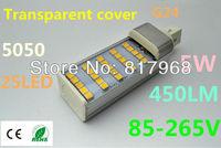 Transparent cover LED Bulb 85V-265V 12W 5050 SMD 60 LED G24  White/Warm White