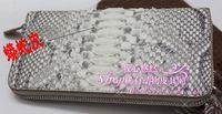 Free shipping Python skin single pull wallet long design three fold wallet 380