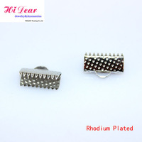 Wholesale 6/8/10/13/16/20/22/25/30/35/40MM Rhodium Plated Ribbon End Connectors Metal Final Hook DIY Jewelery Findings Supply