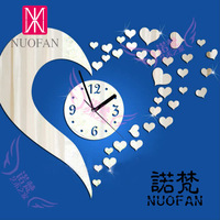 Free shipping Nf-084 home decoration wall clock heart fashion clock mirror silent pocket watch