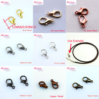 Wholesale 12x6mm Lobster Clasps Hooks Fit For Necklace/Bracelet End Connector/Jewelry DIY Findings Gold(8 Colors) Plated/LXK122
