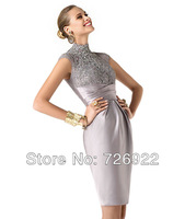 Custom Above Knee Halter Short Silver Lace Mother Of The Bride/Groom Dress 2015 Free Shipping
