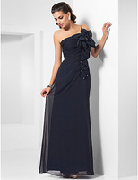 Lost in City Nights! Party Dress Prom Dress Sheath/ Column One Shoulder Floor-length Chiffon Evening Dress