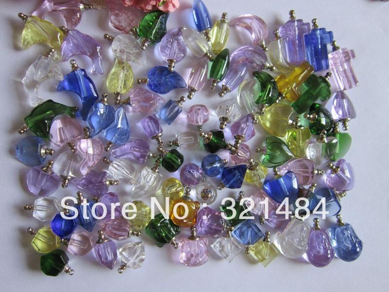 forma mista 50X de cristal colorida Frascos de perfume, garrafas de bebidas espirituosas garrafas de vidro pingentes frasco contas jóias diy fazendo(China (Mainland))