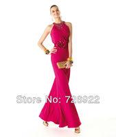 Custom Floor Length Halter Rose Red Beaded Mother Of The Bride/Groom Dress 2013 Free Shipping Custom
