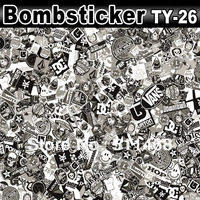Black & White Sticker Bomb Famous Cartoon Collection Design Vinyl Sheet / Size: 1.5 x 30 Meter