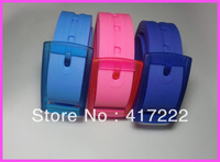 Free Shipping!10pcs/lot New Arrival Silicone Unisex Man Plastic Buckle Rubber Belt Golf Sport Waistband Mix Colors Avaliable