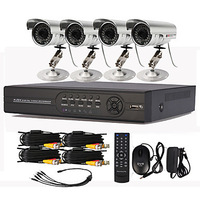4 Channel CCTV DVR System with PTZ Control(4 Outdoor Waterproof Camera)