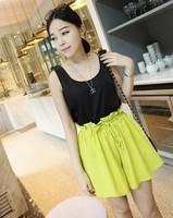 Women Fashion Loose Solid Flat Cool Drawstring Decor Thin Bud Shorts Free Shipping A408B-8287