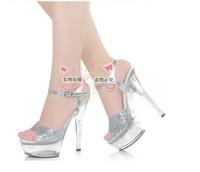 2014 free shipping sexy high thin heel 15 cm, nightclub sandals, female slipper, transparent banquet silver wedding shoes