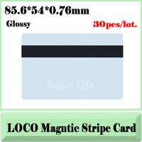 30x blank CR80 ID LoCo Magnetic Stripe PVC Card+free shipping