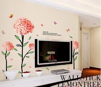 High quality,large size 130*130cm folwer Wall stickers tv decoration wall sticker mural decal beautiful cheppy blossoms