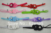 Anna $10 Boutique satin rose flower with Starburst rhinestone satin ribbon flower Thin Elastic headbands accessories 5pcs/lot
