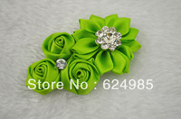 Anna Boutique mini silk rose flower with Starburst Rhinestone satin ribbon flower flat back hair accessories 120pcs/lot