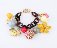 Free shipping Fashion Turtle Tortoise Shell Chain Bracelet with Flower Charms