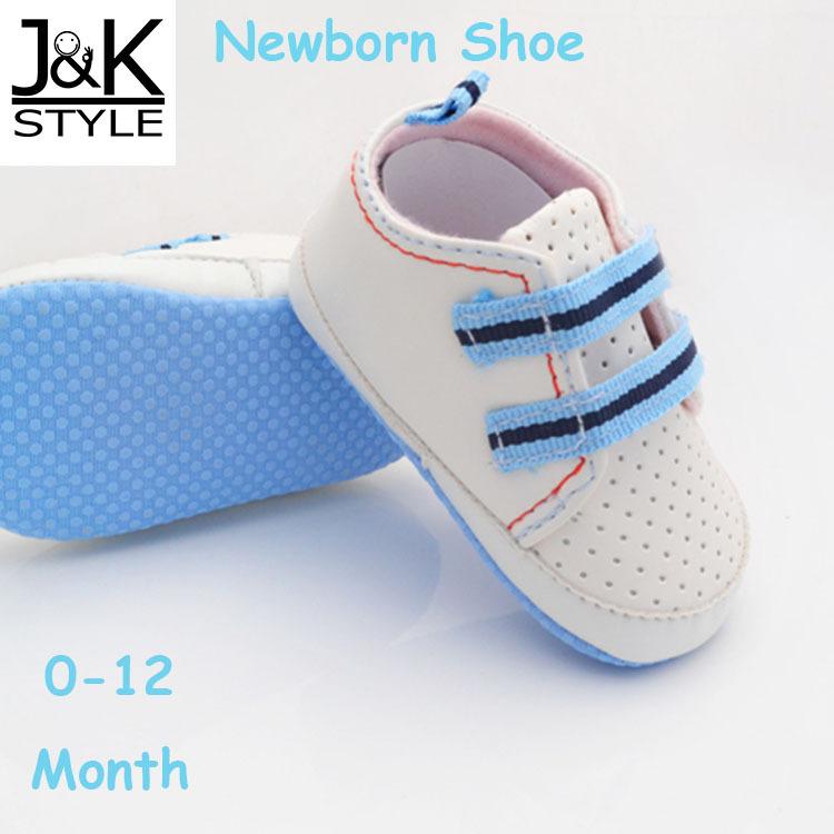 1* White Blue striped Baby Shoe/Newborn sapato Shoe 0-12 Month Hot Sale(China (Mainland))