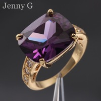 Jenny G Jewelry Size 7,8,9 Valuable Lady's Purple Amethyst Solitaire 18K Yellow Gold Filled Ring for Women Free Shipping