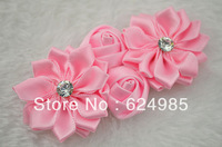 Anna Boutique double silk rose flower with Starburst Rhinestone satin ribbon flower flat back hair accessories 150pcs/lot