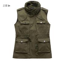 2013 Hot Selling Double Led Design Layer Collar Cotton Multi-Pocket Slim Male Casual Sleeveless Fashion Jacket Free Shipping