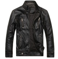 THOOO Slim Short Men Top Designed PU Leather Motorcycle Biker Zipper Jacket Coat Top Quality Free Shippingt