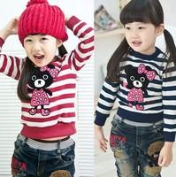 Free Shipping Hot 5pcs/lot Kids boys girls cartoon bear T shirts kids girls bear clothes Tee spring Autumn long sleeve clothing