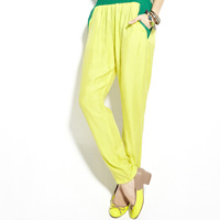 The trend of casual comfortable pants harem pants ammonia copper wire silk color block candy color trousers