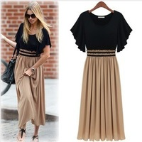 European and American big fat summer new women's dress code was thin waist chiffon dress long drop shipping