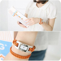 Beautiful Elegant spirally-wound gentlewomen double layer knitted quartz bracelet watch 12 color