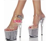 2014 Free shipping, 15 cm high heels, sequins glass slipper, transparent wedding shoes, sexy sandals nightclub