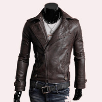 Free Shipping 2013 Hottest Sale Fashion Mens Winter Jackets Casual Slim Inclined Zipper Leather Outwear Size M/L/XL/XXL YY7-103