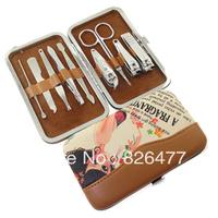 HOT !! 10 sets/Lot Nail scissors clipper kit Finger plier carbon steel girl manicure set nail art print 9 pcs/set pedicure tools