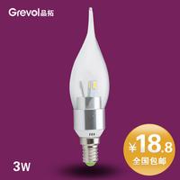 Free shipping Super bright led lighting 3w energy saving light  candle small screw-mount e14 bubble tip led lamp