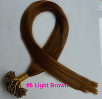 "Top 50S #8 Light Brown Pre Bonded Nail U Tip Keratin Glue 100% Remy Human Hair Extensions Straight 16""-24"""