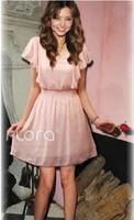 Ladies Solid Chiffon Short Sleeve V-Neck Ruffles Cute Slim Dress Free Shipping A409A-1236